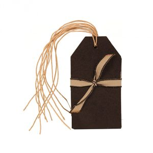 "JAM Paper® Gift Tags with Twine String - 4 1/4"" x 2 3/8"" - Black Kraft Recycled- 6/pack"