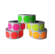 "Gift Wrapping Craft Decoration Dot Stickers - Fluorescent Colors Green Pink Yellow Orange and Red - 2,500 Total 0.75"" Inch Round Adhesive Labels"