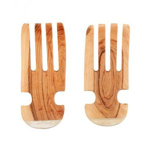 Olive Wood Salad Claws with Bone Handle