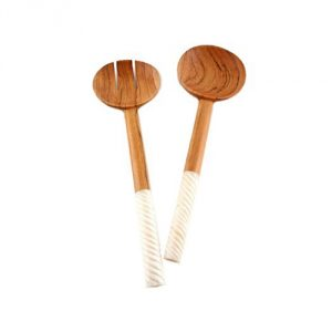 Spiral Handle Olive Wood Salad Servers