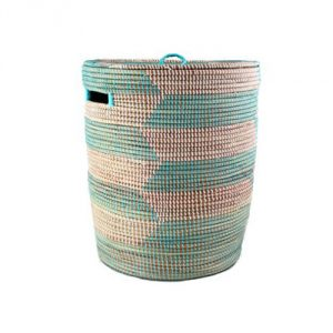 Flat Lid Storage Hamper - Aqua Herringbone