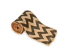 FloraCraft-RS20583-Burlap-Roll-5-Inch-Wide-by-5-Yard-Length-Chevron-Print-Black-0