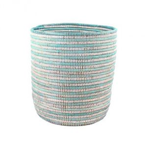 African Bath Bin Basket - Aqua - Fair Trade