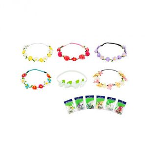 Bundle Monster Womens Silk Floral Hippy Elastic Mini Headband 6pc Mix Design Set