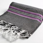 Cacala Pestemal Turkish Bath Striped Towels 37x70 %100 Cotton Black-Lilac