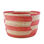 Woven Storage Basket - Pink Herringbone