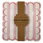 Meri Meri Large Pink Stripe Toot Sweet Plates and Napkins (12 plates and 20 napkins)