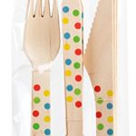 Party Partners 18 Piece Disposable Wood Cutlery Set, Color Dots