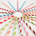 Party Partners Design Retro Paper Straws, Magenta, 25 Count
