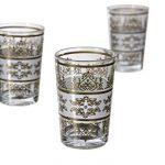 Casablanca Market Moroccan Tunis Tea Glass, White Gold, Set of 6