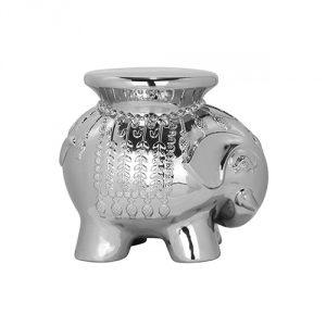 Safavieh Castle Gardens Collection Elephant Ceramic Garden Stool, Silver