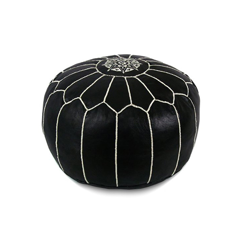 Ikram design moroccan pouf with white stitches 20 inch by 13 inch black love the edit - Design pouf ...
