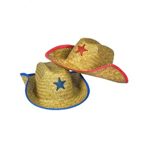 Kids Straw Cowboy Sheriff Hat w/Star (2 Pack)