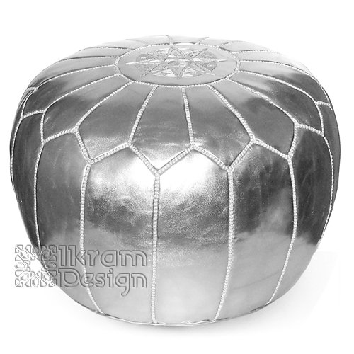 moroccan leather pouf silver moroccan poufs ottoman love the edit. Black Bedroom Furniture Sets. Home Design Ideas