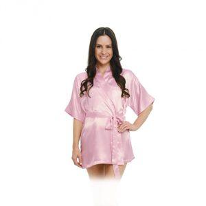 Del Rossa Women's Satin Robe, Short Dressing Gown