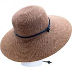 Sloggers 442DB01 Women's  Wide Brim Braided Sun Hat with Wind Lanyard - Dark Brown - Rated UPF 50+  Maximum Sun Protection