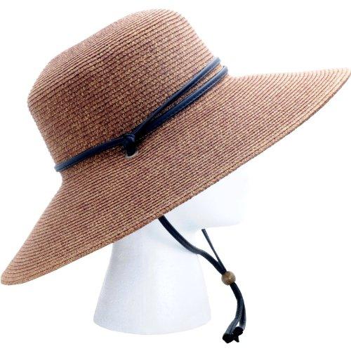 Sloggers 442DB01 Women's  Wide Brim Braided Sun Hat with Wind Lanyard - Dark Brown - Rated UPF 50+  Maximum Sun Protection