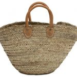 "Moroccan Straw Shopper / Market Bag w/ Leather Handles, 19""Lx10""Wx11""H - Roca"