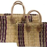 "Moroccan Straw Tote Bags w/ Dyed Striped Pattern, 16""Lx5""Wx11""H - Corsica Set"
