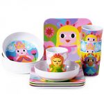 French Bull - BPA Free Children's Dinner Set - 8-Inch Melamine Kids Plate Set - Princess, Set of 4