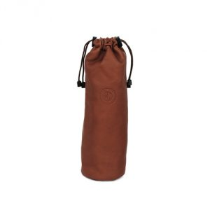 Leather Drawstring Wine Tote (Cognac)