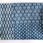 Mango Gifts Indigo Color Hand Block Printed Kantha Quilt Throw, Patchwork Cotton Bedspread Queen Size