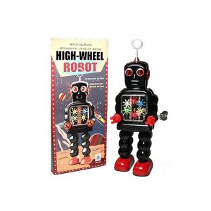 Vintage Style Black Windup Tin High Wheel Robot