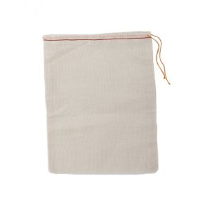 Cotton Muslin Bags 8x10 Inches Red Hem and Orange Drawstring 10 Count Pack
