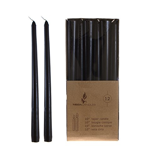 "Mega Candles - Unscented 10"" Taper Candles - Black, Set of 12"