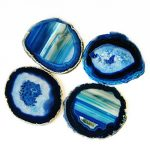 Agate Coaster Cup Mat Blue Colour 3.5 Inches - 4 Inches Natural Beautiful Blue Crystal Gemstone Agate Beverage Coasters for Drinks Gift Set of 4 with Feet