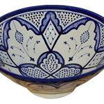 Ceramic Bowls Moroccan Handmade Serving Bowl Blue Fez (Medium 10 inches)