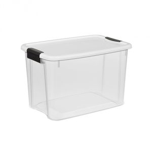 Sterilite 19859806 30 Quart/28 Liter Ultra Latch Box, Clear with a White Lid and Black Latches, 6-Pack