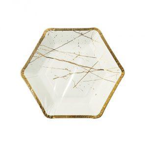 Modern-Metallic-Hexagonal-Party-Plates
