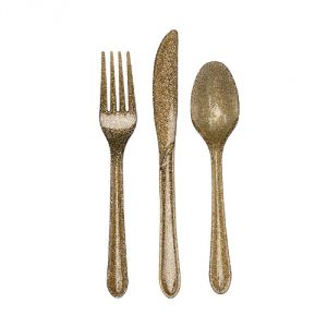 Plastic-Glitz-Gold-Glitter-Cutlery