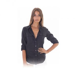 CAMIXA-Linen-Two-Pockets-Long-Sleeve-Black-Shirt