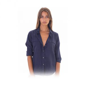 CAMIXA Linen Two Pockets Long Sleeve Navy Shirt