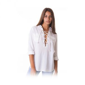 CAMIXA-Soft-Linen-Lace-up-White-Shirt