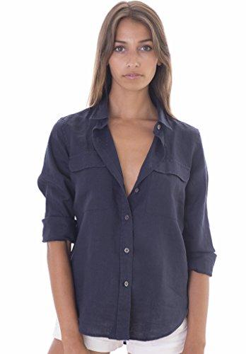 CAMIXA Linen Two Pockets Long Sleeve Navy Shirt - Love the Edit