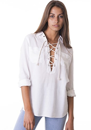 CAMIXA Soft Linen Lace-up White Shirt - Love the Edit
