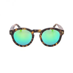 Illesteva Leonard Mirrored Sunglasses - Tortoise/Green