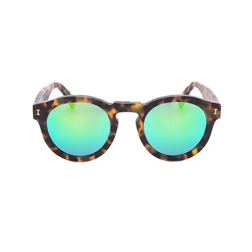 Illesteva Leonard Mirrored Sunglasses - Tortoise/Green