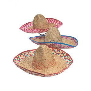 Embroidered Woven Straw Sombreros