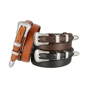 Silver Buckle Oil-Tanned Leather Belt