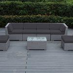 Ohana Wicker Sofa Set - Dark Gray