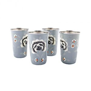 Hand-Painted-Gray-Enamel-Floral-Tumblers