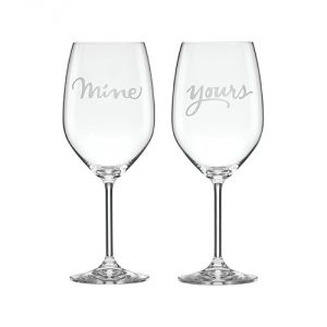 Kate Spade New York Two of a Kind Mine & Yours Wine Glasses