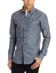 Naked & Famous Denim Men's Slim Fit Shirt, Lightweight Chambray, Small