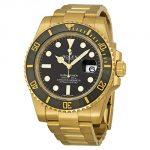 Rolex Submariner Black Index Yellow Gold Watch