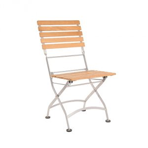 Teak Bistro Low Chair with Iron Frame