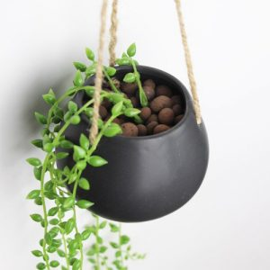 Ceramic Home/ Garden Small Cute Round Ball Hanging Flower Planter Pot Color Black